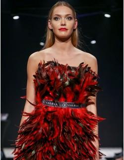Sukienka czerwone pióra