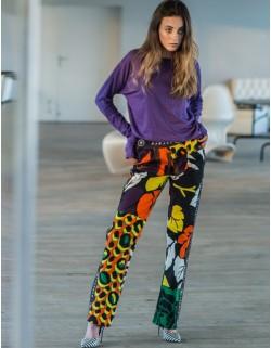 Jeansowe spodnie multikolor